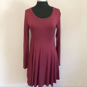 Lush Long Sleeve A Line Maroon Midi Length Dress